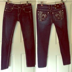 Miss Me Fleur De Lis Skinny Jeans 26 JE537554R